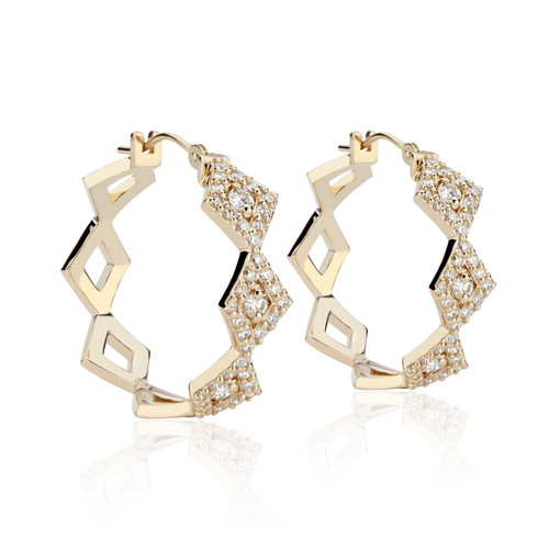 Lucia Diamond Pave Hoops in 14K Yellow Gold
