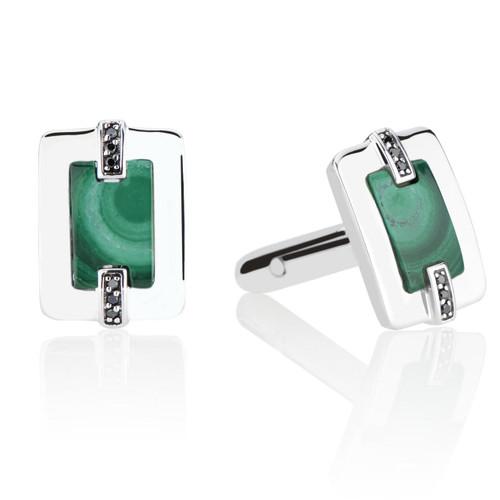 Marcello Cuff Links with Black Diamonds and Malachite in Sterling Silver