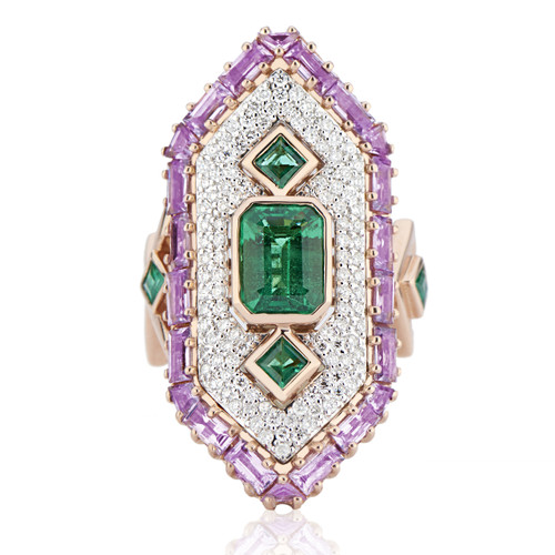 Cleopatra emerald, sapphire and diamond ring