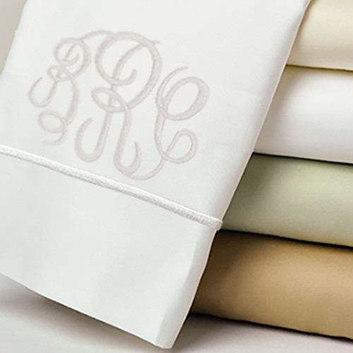 Monogrammed Classic Pillowcases With matching Heirloom Stitch