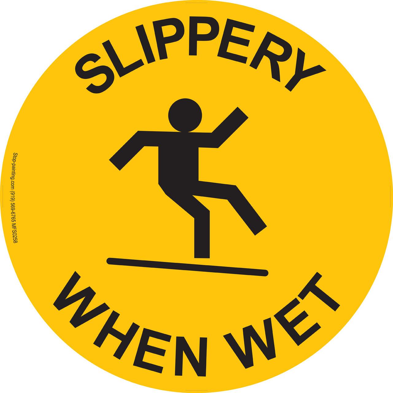 Warning Sign Slippery When Wet