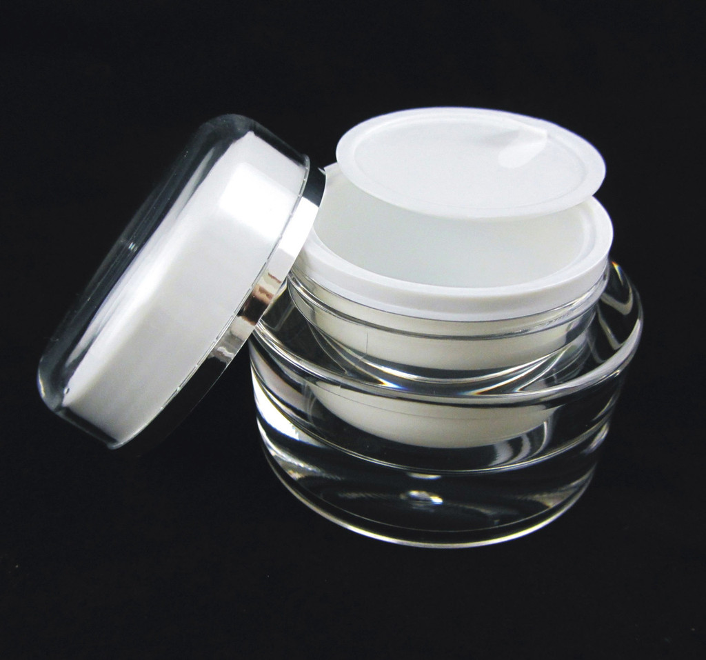 Acrylic Cosmetic Beauty Containers Cream Jars w/ Sealing Disc - 30ml