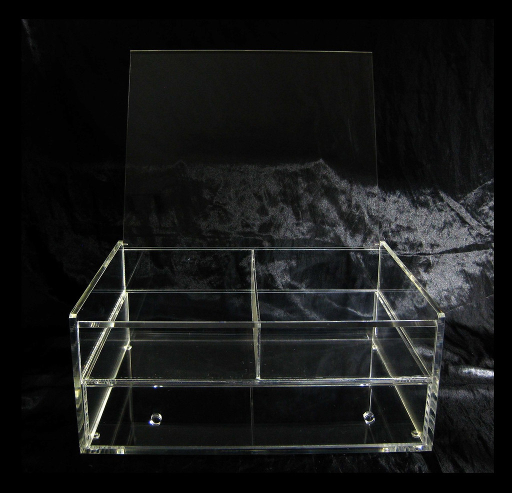 Large Deluxe Cube Acrylic Expandable & Stackable Beauty Organizers with Flip Top - sku# 5660