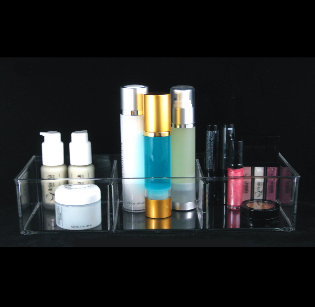 Luxury Large Acrylic Cosmetic Beauty  Organizers 3-Compartment - sku# 5643
