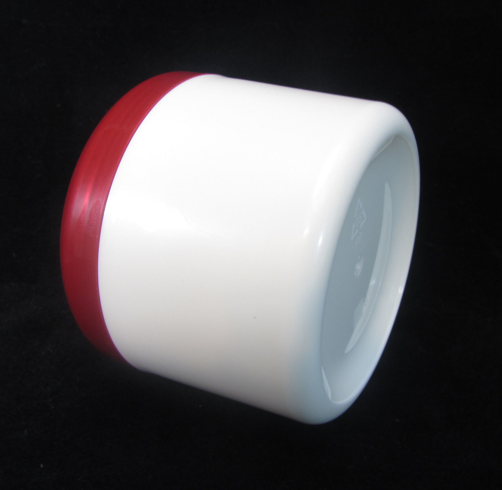 Plastic Skincare, Body Butter, Scrub & Salve Beauty Containers - 7.5 oz.  (Pearl White Body w/ Red Cap)