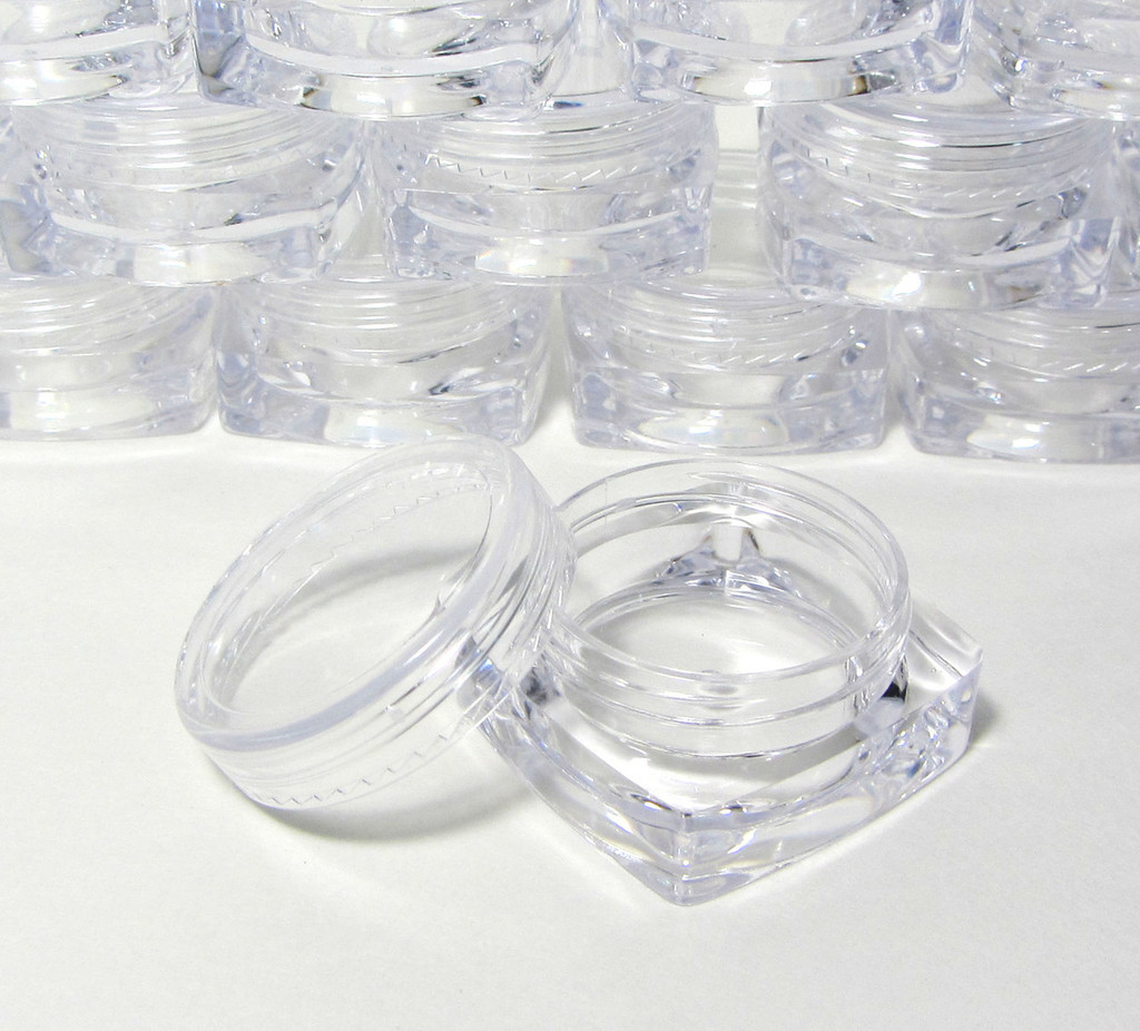 Cosmetic Jars Mini Square Beauty Containers - 3 Ml (Purple / Pink / Red / Blue / White / Clear / Black Cap)