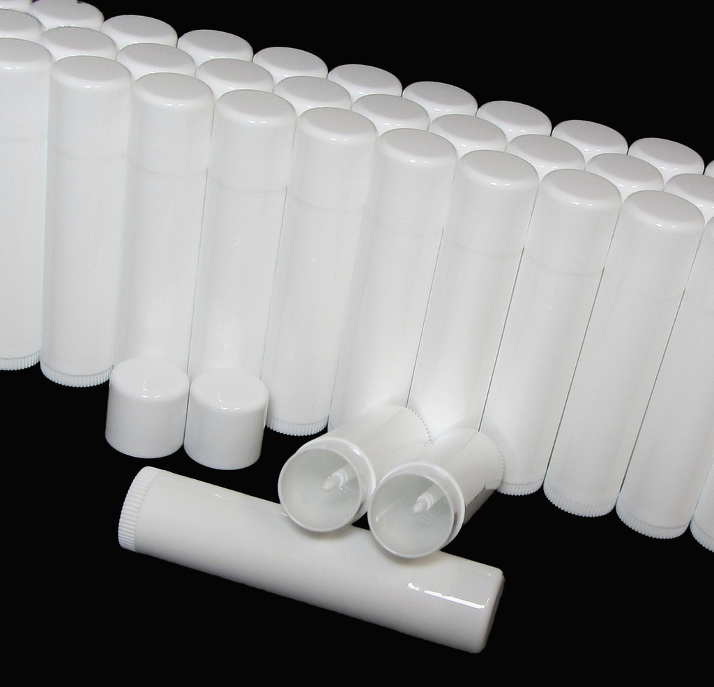 Lip Balm Tubes Plastic Beauty Containers - 0.15 oz. (White/White) Rounded Edge Caps - sku# 9160
