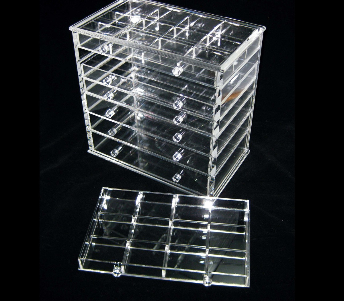 Acrylic Cosmetic Jewelry Organizer Luxury 7Drawer Table Top Style