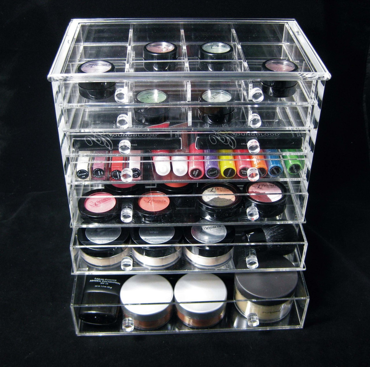 acrylic cosmetic jewelry organizer luxury 7 drawer table top style sku 5696 beauty makeup. Black Bedroom Furniture Sets. Home Design Ideas