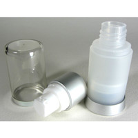Airless Pump Lotion Refillable Bottle - 15 ml / 0.5 oz. (Frost)