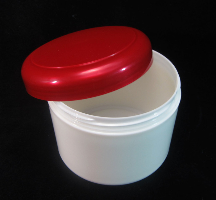 Plastic Skincare, Body Butter, Scrub & Salve Beauty Containers - 7.5 oz.  (Pearl White Body w/ Red Cap) - sku #9325