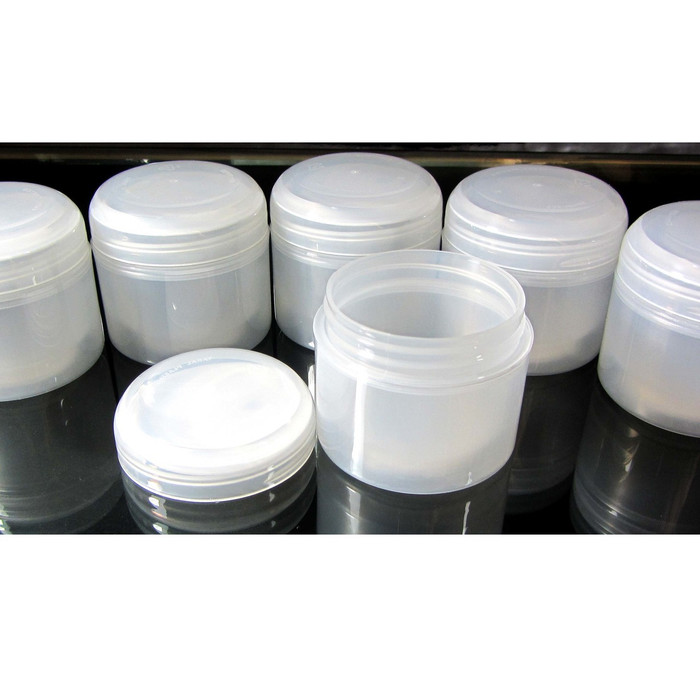 Cosmetic Jars Double Wall Plastic Beauty Containers with Lined Dome Cap - 60 ml / 2 oz.  (Natural) - sku #9322