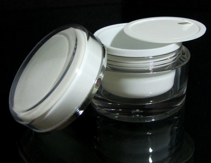Acrylic Cosmetic Beauty Containers Cream Jars w/ Sealing Disc - 50ml - sku# 3150