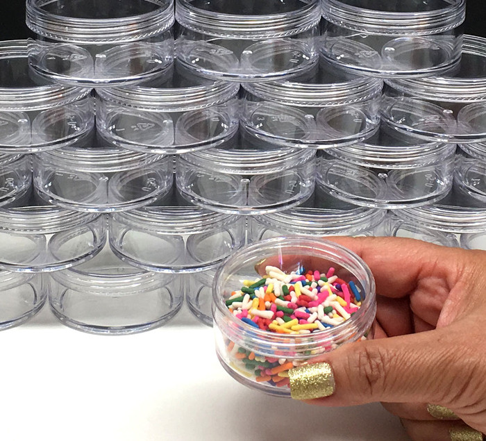 Cosmetic Jars Plastic Beauty Containers - 50 Gram (Clear Cap) - sku# 3057