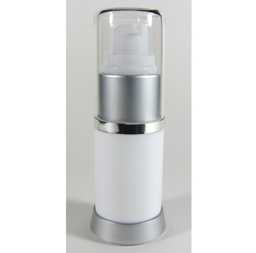 Airless Pump Lotion Serum Refillable Facial Treatment Bottles - 15 ml / 0.5 oz. (White)
