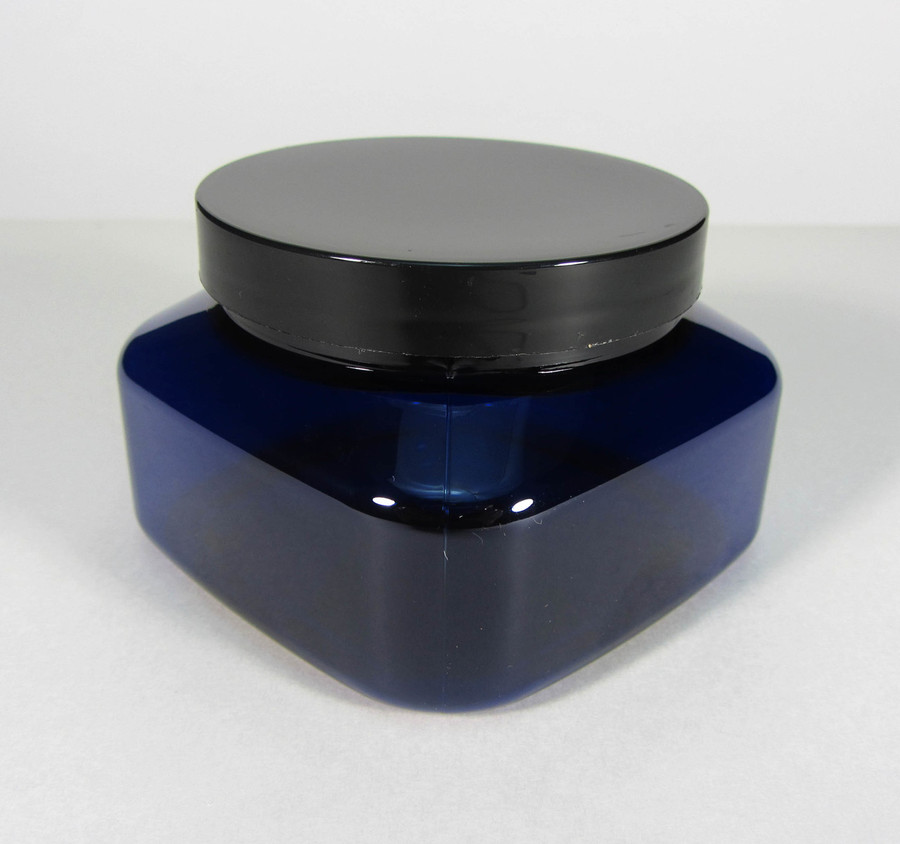 Cosmetic Jars Plastic Square PET Blue Beauty Containers - 8 oz. (Black Cap w/ Pressure Sensitive Liner) - sku #9308