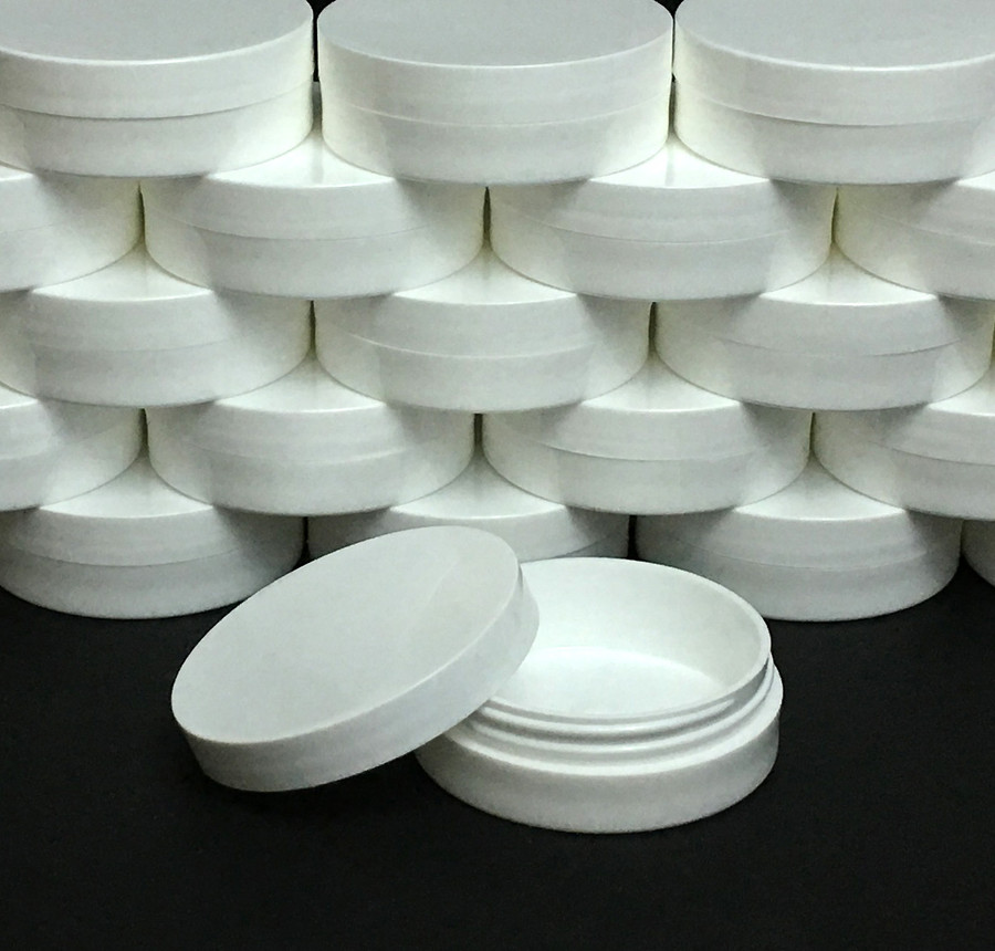 Plastic Cosmetic Containers Straight Edge Low Profile Wide Mouth White Jars - 1 oz.  (Unlined White Cap) - sku #9352