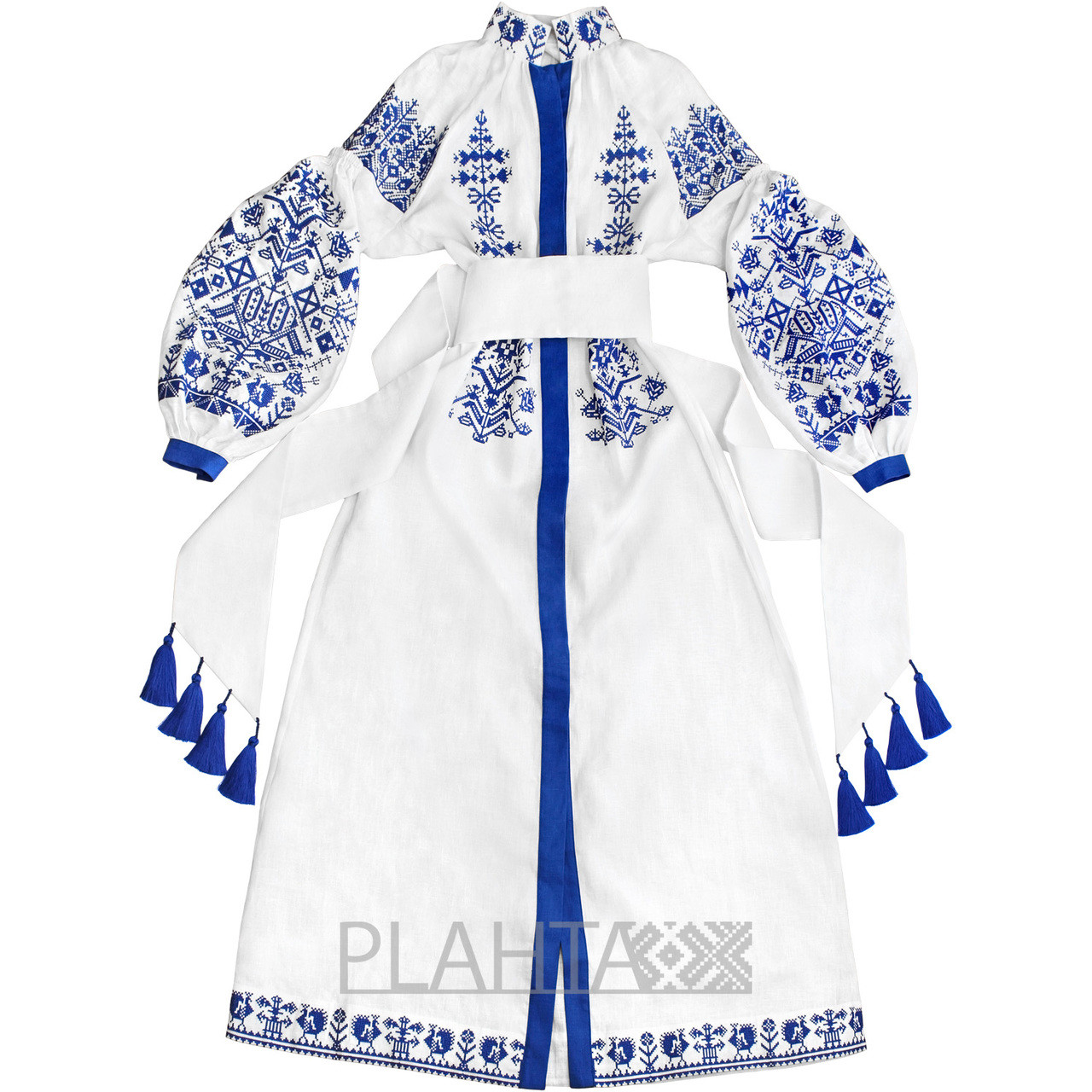 Long White Dress With Embroidery King Bird Plahta