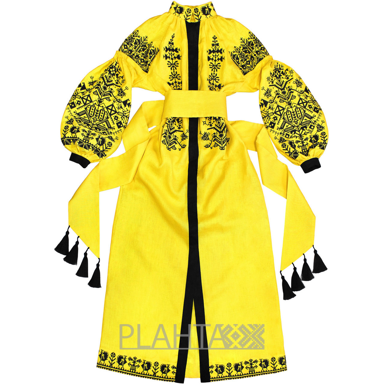 Long Yellow Dress With Embroidery King Bird Plahta