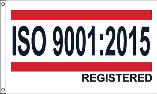 ISO 9001:2015 Flag Red/White/Blue Design