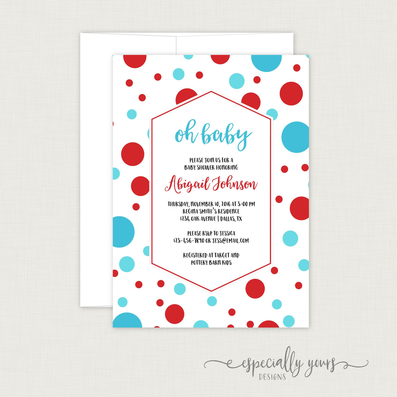 Blue red dots baby shower invitation especially yours designs blue red dots baby shower invitation filmwisefo