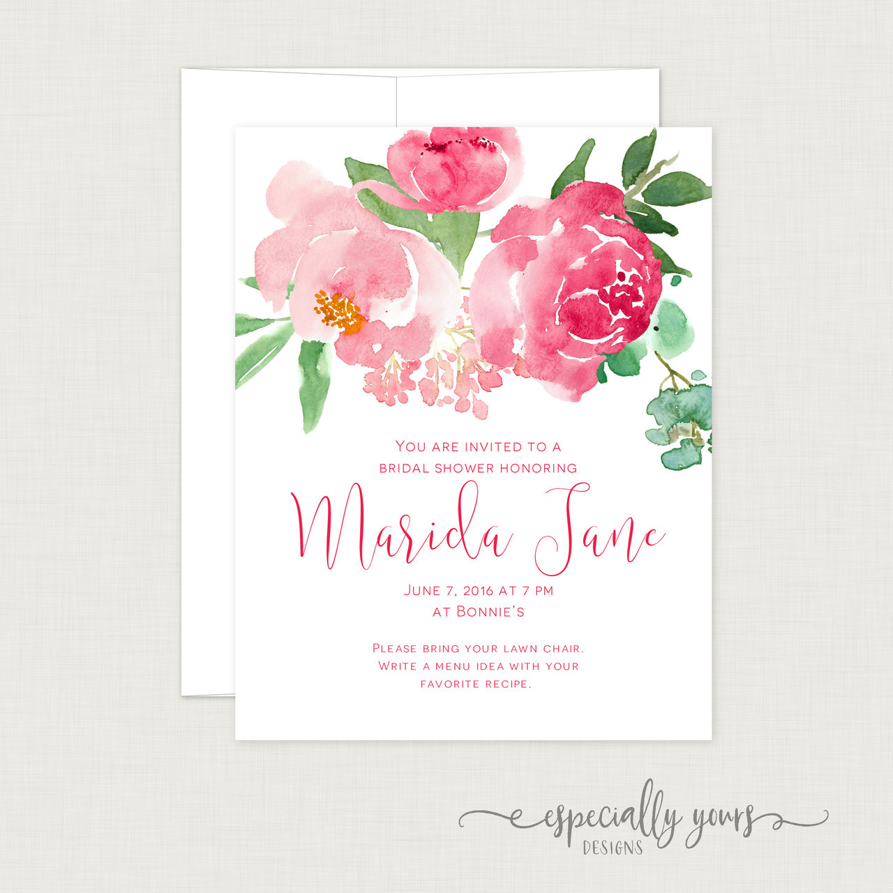 Pink & Green Floral Bridal Shower Invitation - Especially Yours Designs