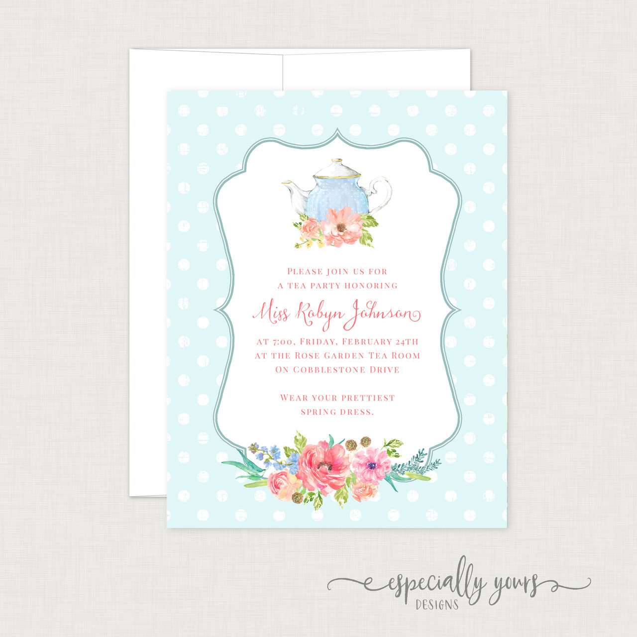 Tea Party Floral Bridal Shower Invitation - Especially Yours Designs