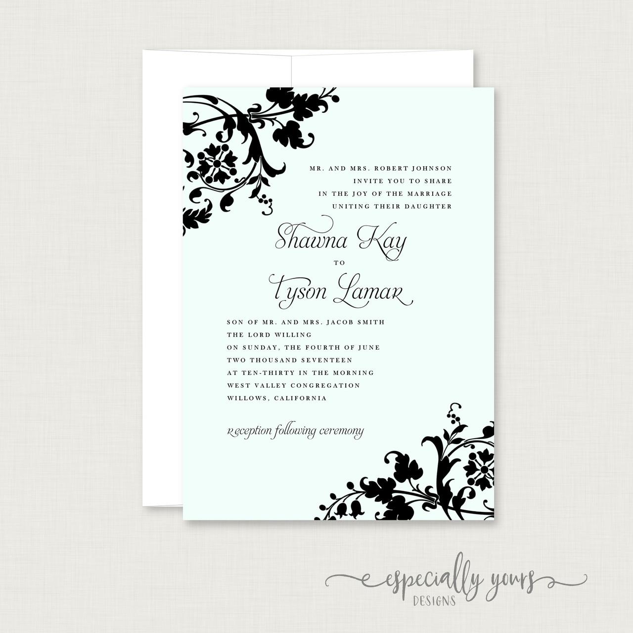Aqua & Black Flourish Wedding Invitation - Especially Yours Designs