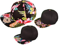 Floral Cotton Snapback Hats - Flat Bill BK Caps 2 Tone flower (Choose Color Pattern)  - 2985 1aabde924855