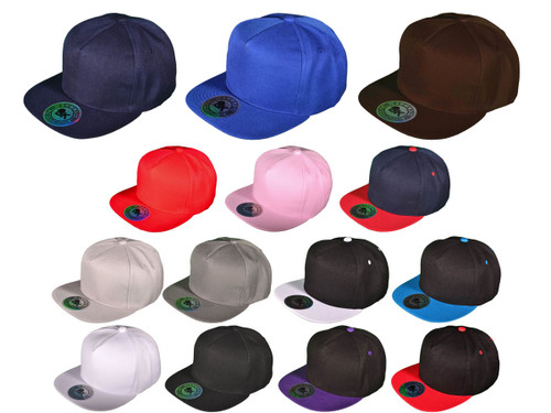 ... 5 Panel Snapbacks - BK Caps Flat Bill Snapback Hats with Same Color  Underbill (14 116ff7c72729