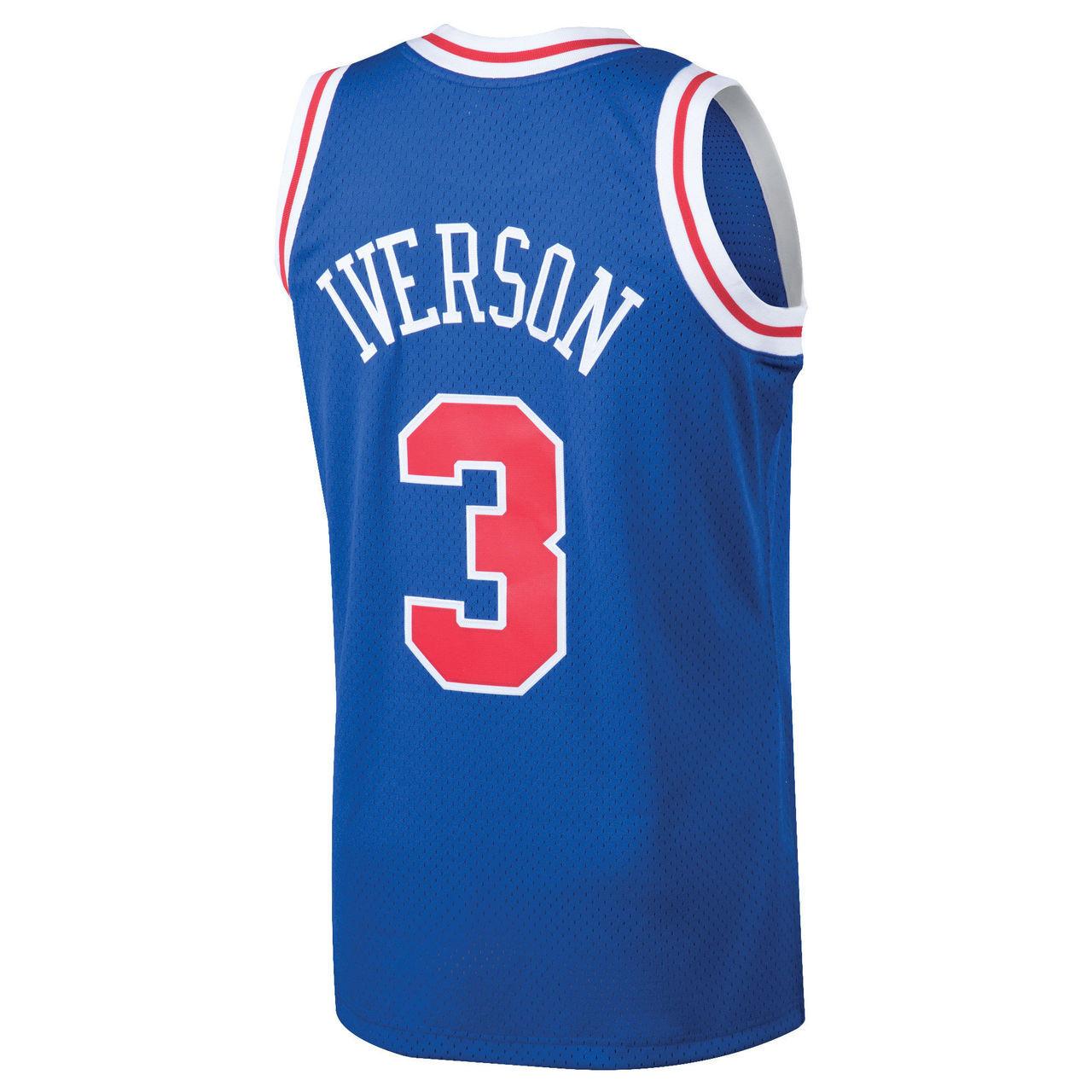 4489d0fe9 Allen Iverson Philadelphia 76ers Mitchell   Ness 1996-97 Hardwood ...
