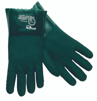 Memphis Premium Double-Dipped PVC Gloves (Green): 6414