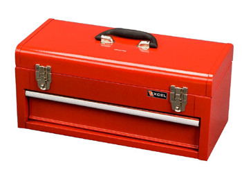 One Drawer Portable Metal Toolbox (Red and Black)
