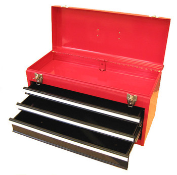 Three Drawer Portable Metal Toolbox (Red)