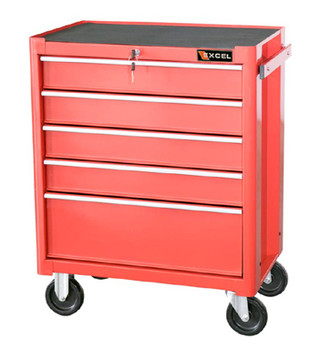 Five Drawer Metal Tool Cabinet (Red)