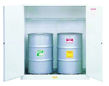 Justrite White Drum Cabinets for Flammable Waste: 8962053 and 8991053