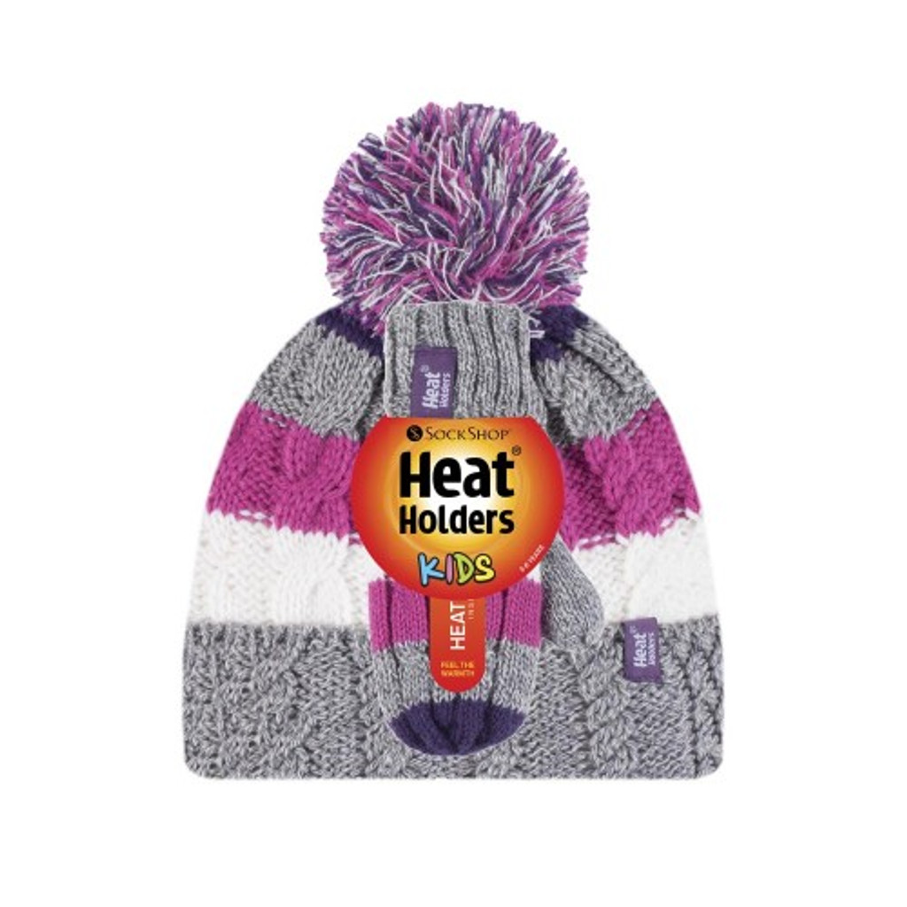 Girls Cable Turn Over Hat with Pom Pom & Mittens-girls set