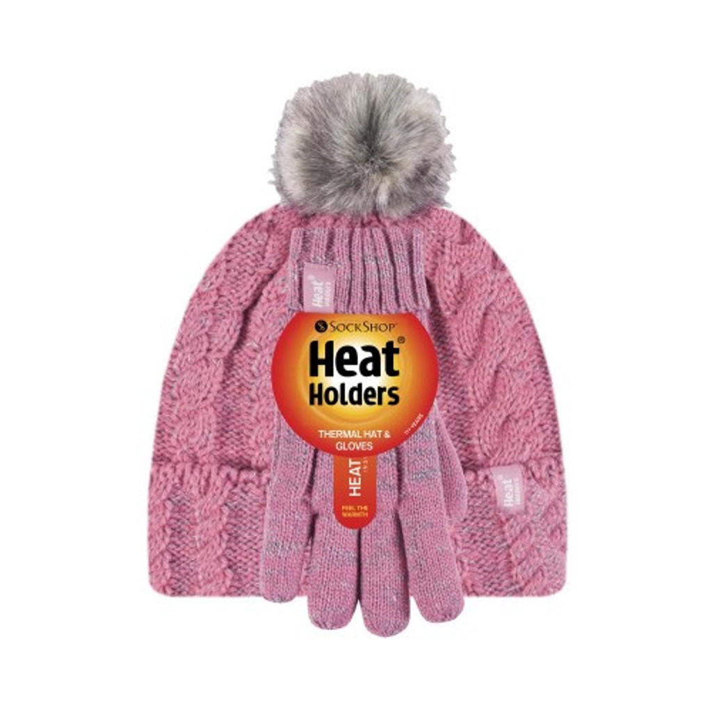 Girls Cable Turn Over Hat with Pom Pom & Gloves-girls set