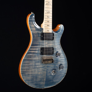 PRS Custom 24 10 Top Flame Maple Wood Library Faded Whale Blue 7166