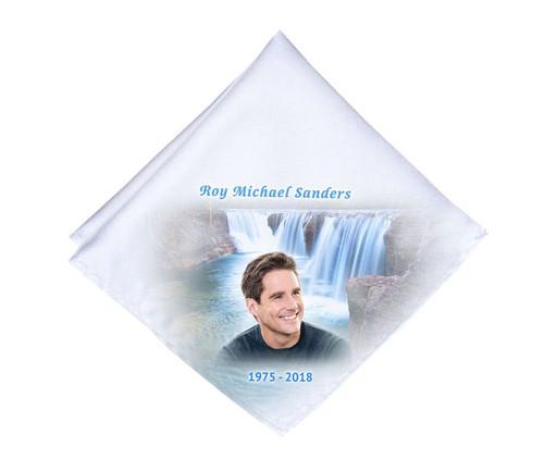 Cascading Waterfall Mens or Ladies Memorial Personalized Handkerchief
