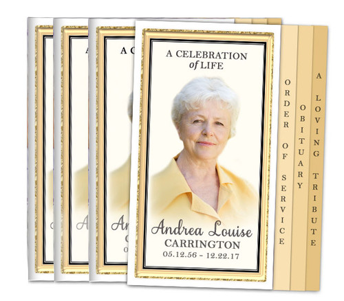24K 8-Sided Graduated Fold Funeral Program Design & Print
