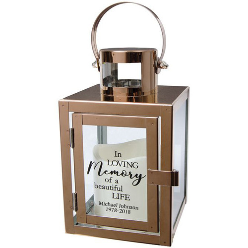 Personalized Beautiful Life Rose Gold Metal Lantern