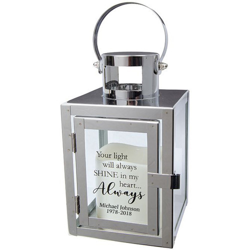 Personalized Heart Always Silver Metal Lantern