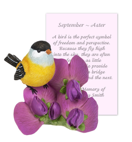 April Sweet Pea and Bird Sympathy Figurine and Card
