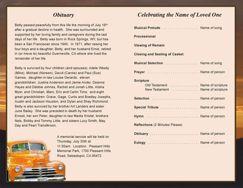 classic car letter single fold program template