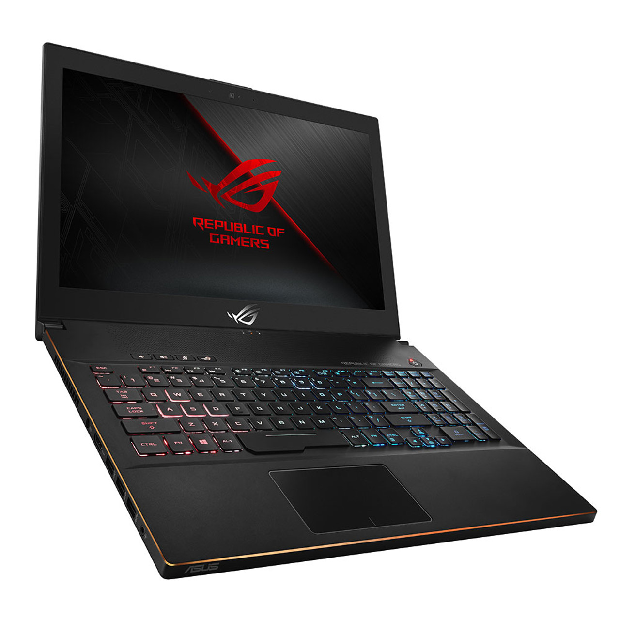 """ROG Zephyrus M represents the modernization of the gaming laptop. It's ultraportable at only 0.79"""" thin and 5.5 lbs. Despite that, it packs NVIDIA® GeForce® GTX 1060 graphics (fully powered, fully unthrottled), an 8th-Generation Intel® Core™ i7 processor up to 3.9GHz, and a 144Hz refresh rate, 3ms response time, G-sync enabled IPS-Type display. The customizable RGB backlit keyboard with ASUS AURA Sync lets you synchronize the LEDs of all your AURA-enabled products to achieve perfect harmony. ROG didn't hold anything back when it comes to memory and storage. Its OS drive is a blazing-fast 256GB PCIe SSD and its storage drive is a 1TB SSHD. It packs 16GB of DDR4 2666MHz RAM for powerful multitasking. Connectivity includes: Gigabit Wave 2 802.11ac 2x2 WiFi with Bluetooth, 1x HDMI 2.0, 1x USB 3.1 Gen2 port, 1x Headphone/ Headset/ Microphone jack, 1x USB 3.1 Gen2 Type C Thunderbolt port, and Kensington lock slot."""