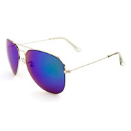 Metal Aviator Sunglasses with Color Mirror Lens and Silver Frame KN-1086-RCM Blue