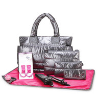 CiPU CT-Bag 2.0 ECO Diaper Bag Tote 9 Piece Combo Set (Metallic Grey)