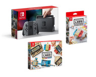 Nintendo Labo Variety Kit, Customization Set, and Nintendo Switch Console with Gray Joy Con Bundle