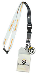 Bioworld Overwatch Logo Lanyard with Charm, ID Holder Key, Ring